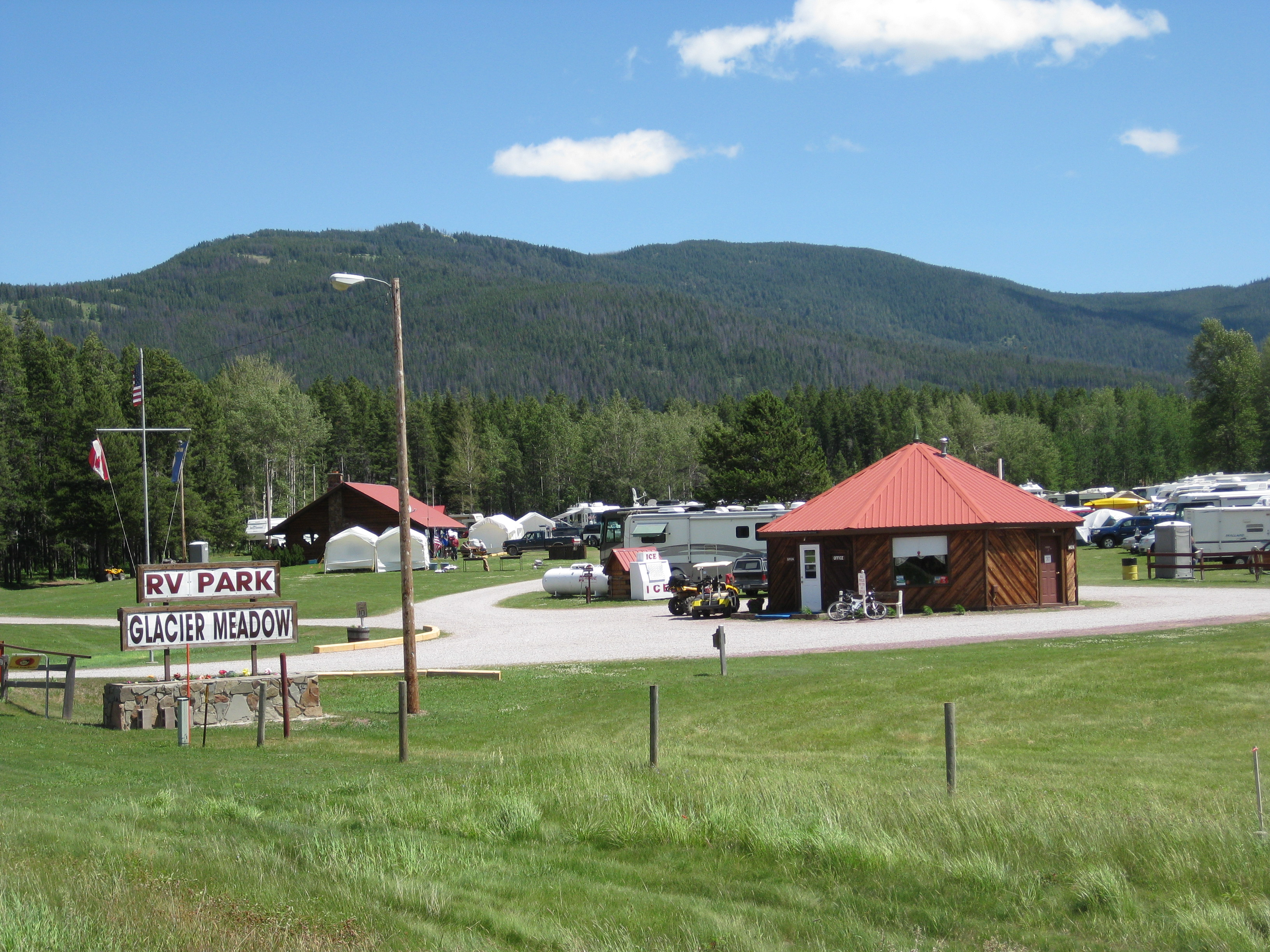 Glacier Meadow RV Park Entrance.